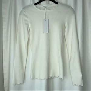 NWT Minnie Rose Long Sleeve Scalloped Sweater